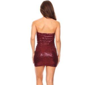 Dresses - Burgundy Sequins Dress